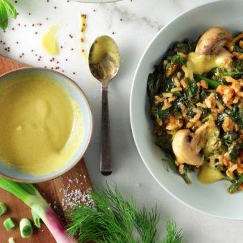 Σπανακόρυζο ντοματένιο και λεμονάτο με μανιτάρια