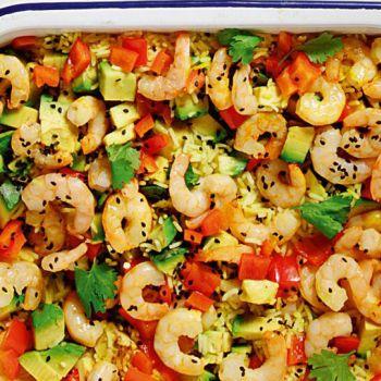 Γαρίδες φούρνου με ρύζι αρωματισμένο με σαφράν